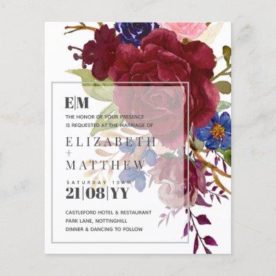 Budget Burgundy Blue Rose Floral Wedding Invites