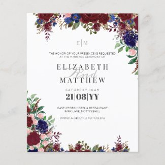 Budget Burgundy Blue Roses Modern Wedding Invites