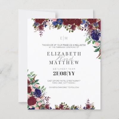 Budget Burgundy Blue Roses Modern Wedding Invites