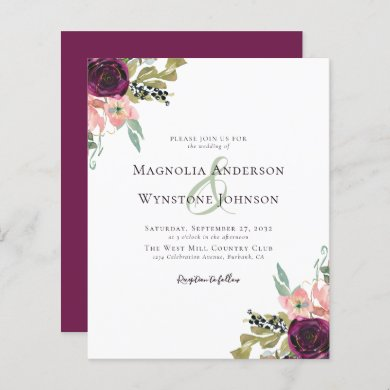 Budget Burgundy Floral Wedding Invitation
