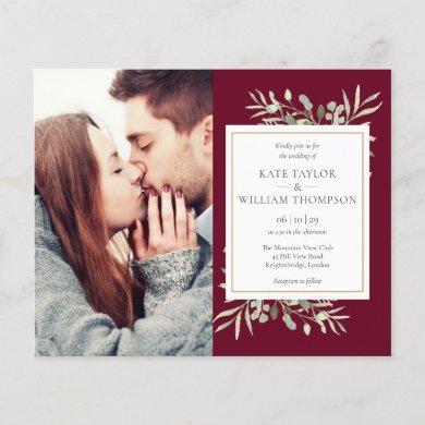 Budget Burgundy Foliage Photo Wedding Invitation