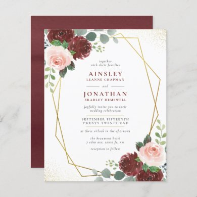 Budget Burgundy Gold & Blush Pink Floral Wedding