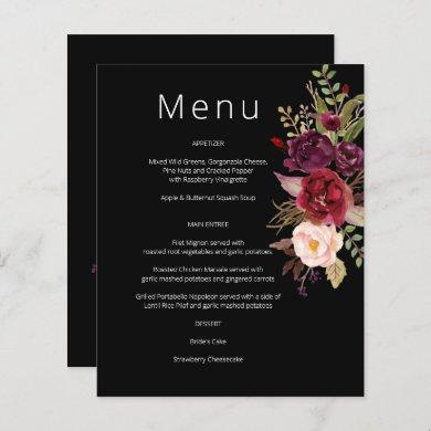 Budget Burgundy Marsala & Pink Floral Menu- Black