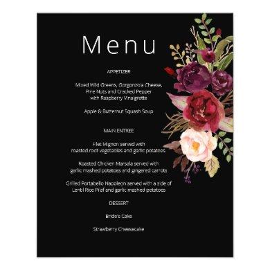 Budget Burgundy Marsala & Pink Floral Menu- Black Flyer
