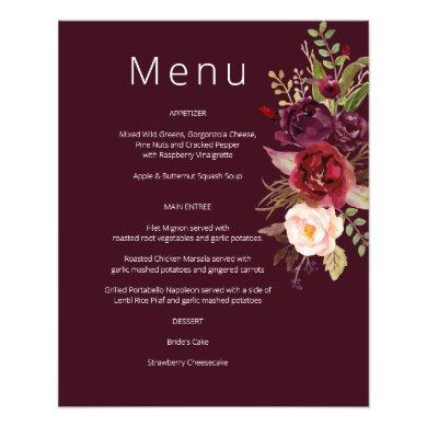 Budget Burgundy Marsala & Pink Floral Menu- Burg 1 Flyer