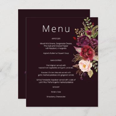 Budget Burgundy Marsala & Pink Floral Menu- Burg 2