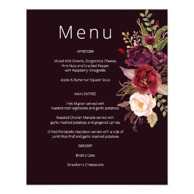 Budget Burgundy Marsala & Pink Floral Menu- Burg 2 Flyer