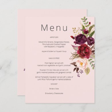 Budget Burgundy Marsala & Pink Floral Menu- Pink 1