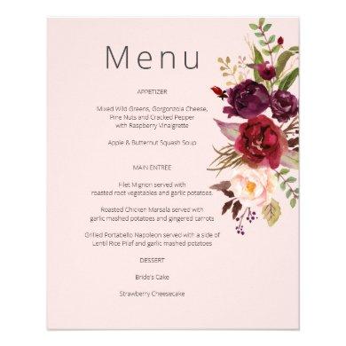 Budget Burgundy Marsala & Pink Floral Menu- Pink 1 Flyer