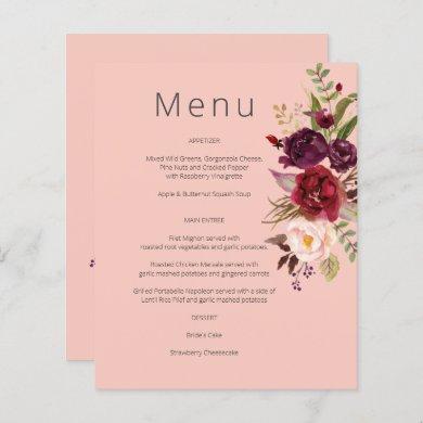 Budget Burgundy Marsala & Pink Floral Menu- Pink 2