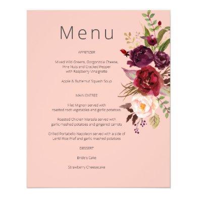 Budget Burgundy Marsala & Pink Floral Menu- Pink 2 Flyer