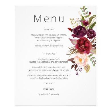 Budget Burgundy Marsala & Pink Floral Menu- White Flyer