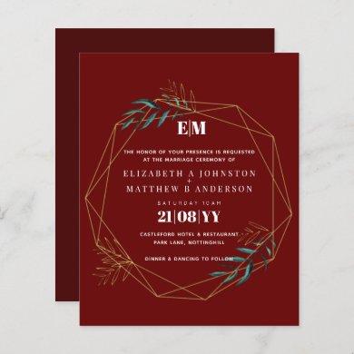 Budget Burgundy Red Gold Geometric Wedding Invite