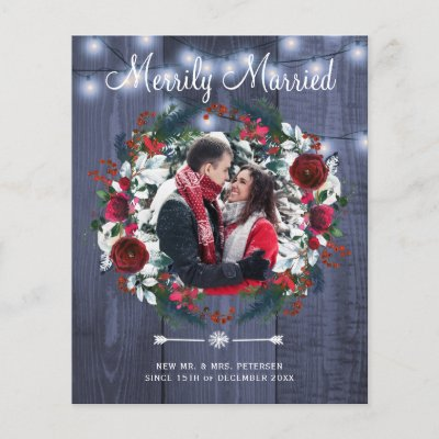 Budget Christmas Merrily Married holiday card