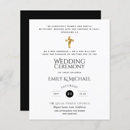 Budget Classic Black White Catholic Wedding Invite