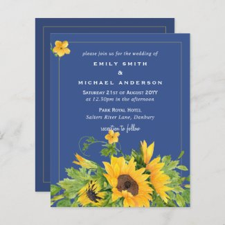 Budget Classic Blue Sunflowers Floral Wedding