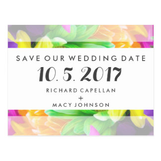 Budget Colorful Floral Wedding Save Date Cards Postcard