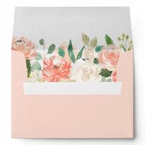 Budget Coral Peach Blush Watercolor Floral A7 Envelope