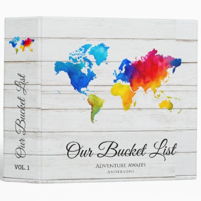 Budget Couple's BUCKET LIST Map Travels Adventures 3 Ring Binder