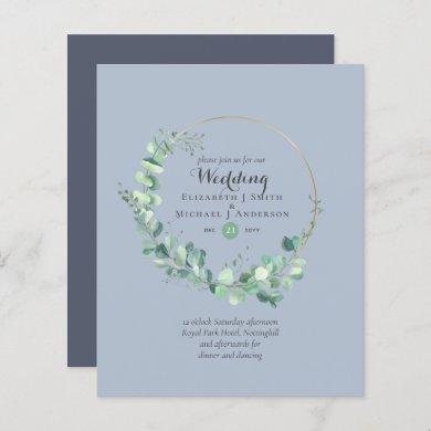 Budget Dusty Blue Eucalyptus Wedding Invites