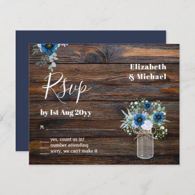 BUDGET Dusty Blue Floral RSVP Rustic Wedding