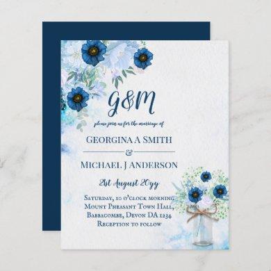 BUDGET Dusty Blue Floral Wedding Invite