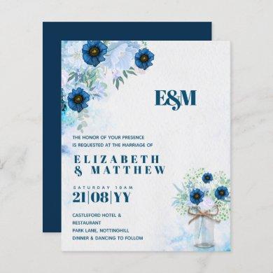 BUDGET Dusty Blue Floral Wedding Invites