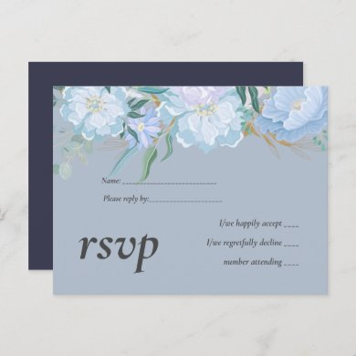 Budget DUSTY BLUE Foliage Wedding RSVP Invitation Postcard