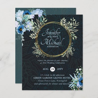 BUDGET Dusty Blue Gold Floral Wedding Invite