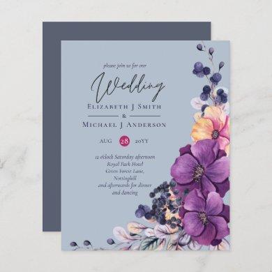 BUDGET Dusty Blue Purple Floral Wedding Invites