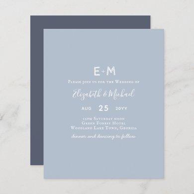 BUDGET Dusty Blue Wedding Invite