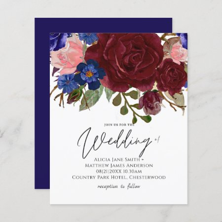 BUDGET Elegant Burgundy Blue Floral Wedding Invite