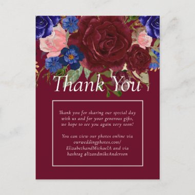 Budget Elegant Burgundy Blue Floral Wedding Postcard