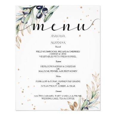 Budget Elegant Olive WEDDING MENU. Flyer