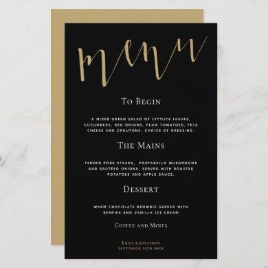 Budget Elegant Script Black Gold Wedding Menu