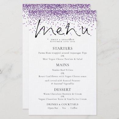 Budget Elegant Script Purple Glitter Wedding Menu