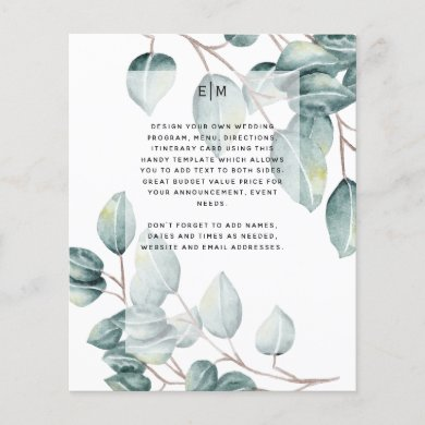 Budget Eucalyptus Greenery Leaves Wedding Invites