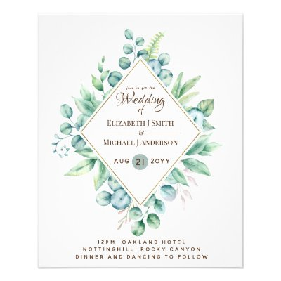 Budget FLYER Paper Greenert Eucalyptus Wedding