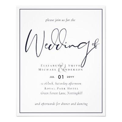 BUDGET Flyer Paper Midnight Blue Wedding Invite
