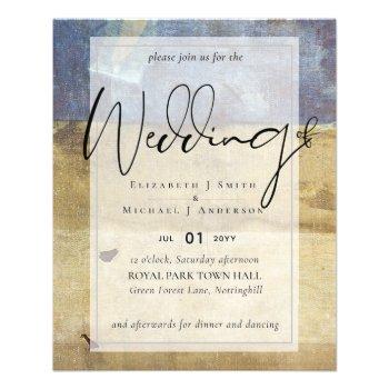 BUDGET Flyer Paper Navy Wedding Invite Urban