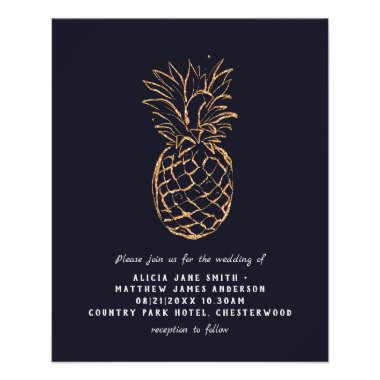 BUDGET Flyer Paper Tropical Go;d Navy Wedding