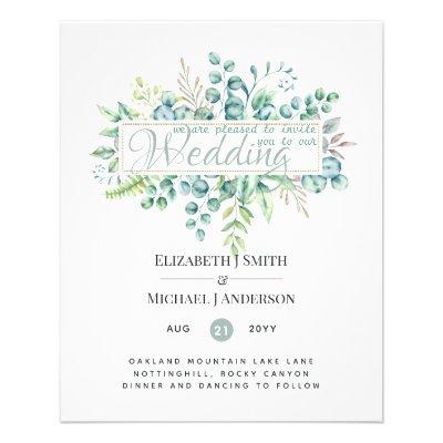 Budget FLYER Paper Wedding Greenery Invite