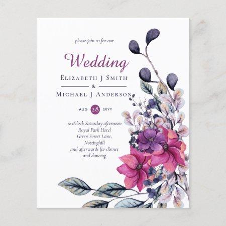 BUDGET Fuchsia Purple Pink Wedding Invites