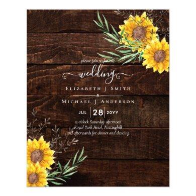 BUDGET Garden Sunflowers Rustic Wood Wedding Flyer