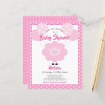 Budget Girl Baby Shower Cute Pink Lamb Invitation