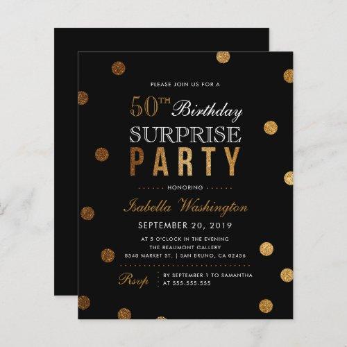 Budget Gold Confetti Black Surprise Birthday Party