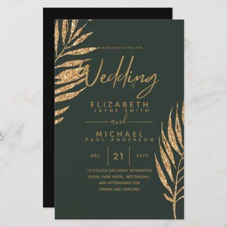 BUDGET Gold Tropical Leaf Beach Wedding Invites A9