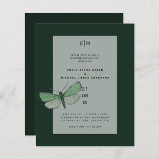 Budget Green Emerald Moth Wedding Invites