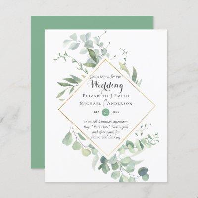 Budget Greenery Eucalyptus Wedding Invites