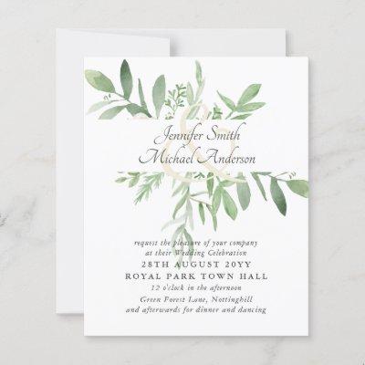 Budget Greenery Leaf Modern Wedding Ampersand